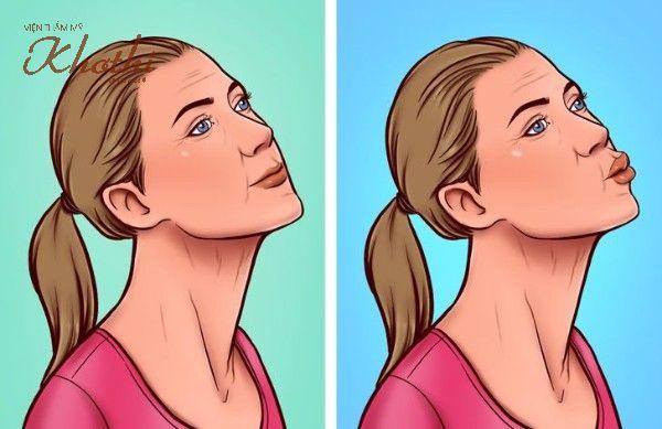 Bài tập nụ hôn giúp xóa nếp nhăn vùng da cổ