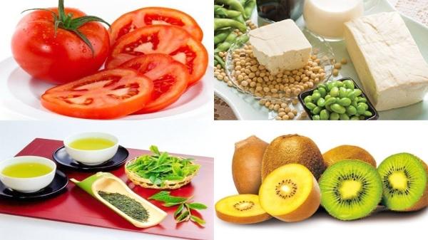 Bơ, kiwi, cà chua, trà xanh, cá,… là những thực phẩm rất tốt cho làn da.