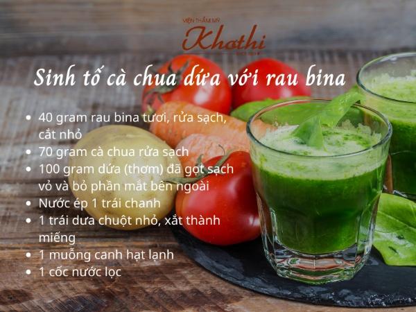 Công thức sinh tố cà chua dứa với rau bina