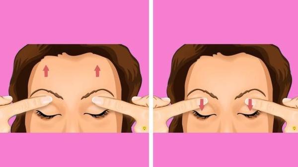 Thả lỏng mí mắt, dùng ngón trỏ đặt vào giữa mí mắt và chân mày. Dùng cơ trán để nâng chân mày lên cao nhất có thể. Giữ chặt tay dưới chân mày để đạt hiệu quả tốt nhất