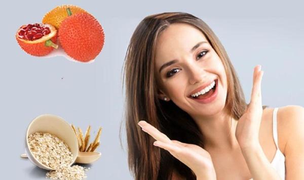 Kết hợp dầu gấc và bột yến mạch giúp làm sạch da và giảm nguy cơ nổi mụn