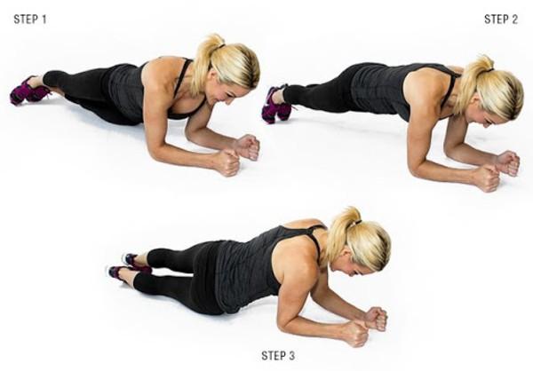 Plank xoay hông