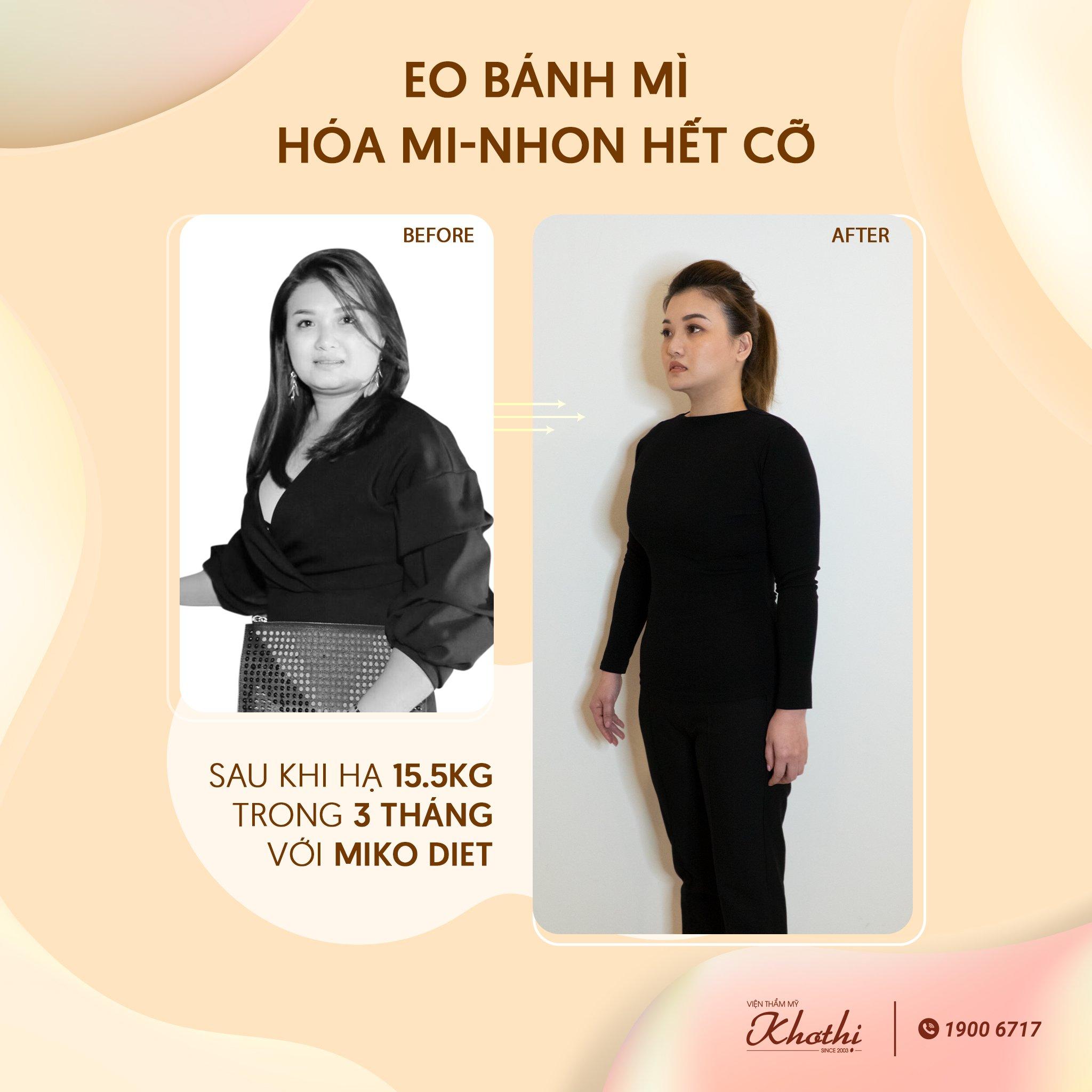 giảm 15,5kg trong 3 tháng với miko diet