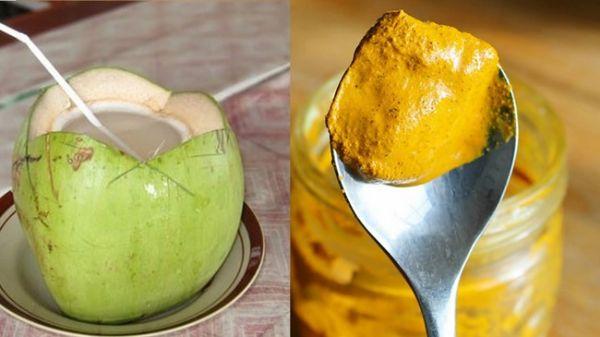 Nước dừa tươi kết hợp tinh bột nghệ giúp giảm béo.